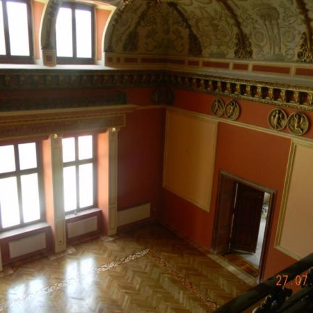 Renowacja parkietu dębowego jednej z piękniejszych sal w Pałacu Tielscha w Wałbrzychu obrazek cykliniarze parkieciarze aktualnosci