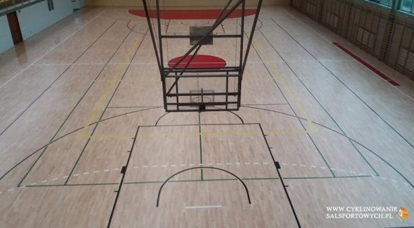 Cyklinowanie podłogi w hali sportowej w Grodkowie